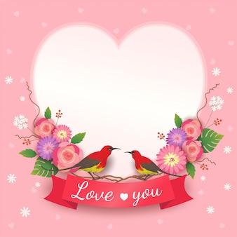 花束の花とハートフレームの恋人の鳥とバレンタインのカードのベクトル。