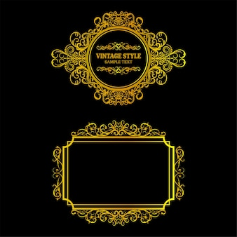 Vector of vintage gold frame decorative
