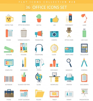 Vector office color flat icon set. elegant style design.