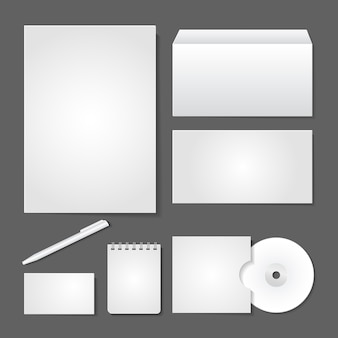 Vector office supply set design for business identity on gray background