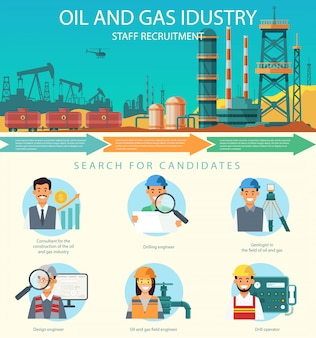 Vector oil and gas industry staff recruitment.