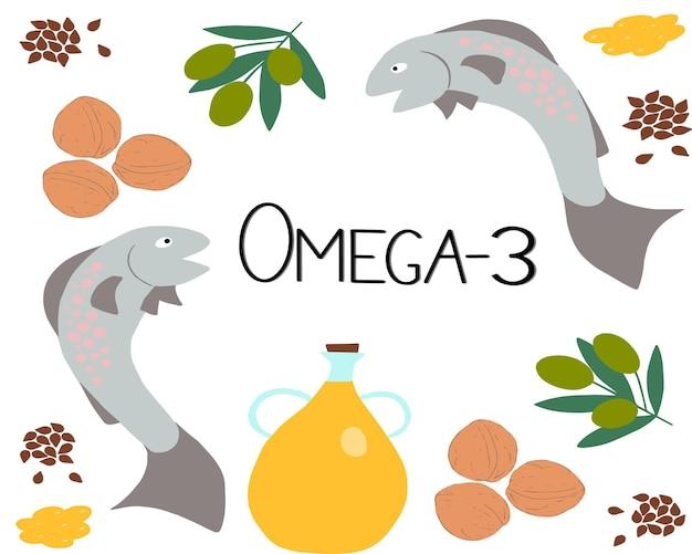 亜麻の中央の多価不飽和脂肪酸のベクトルオメガ製品と碑文オメガ