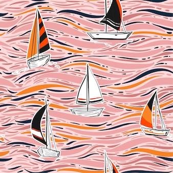 トレンディな手は、vector.onでカラフルなウィンドサーフィンシームレスパターンを描く海図です。夏のビーチの波のイラスト