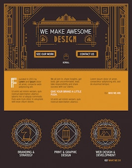Vector one page website template in art deco style.