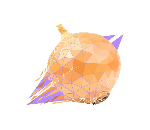 Vector onion in low poly style. digital art