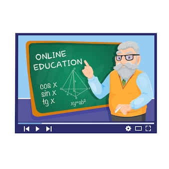 Vector online education illustration of teacher with school board