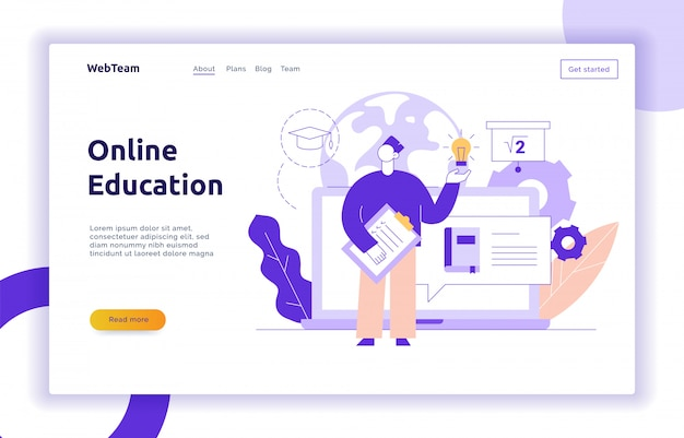 Vector online education web page banner concept