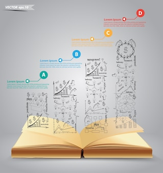 Vector open book with drawing business plan success