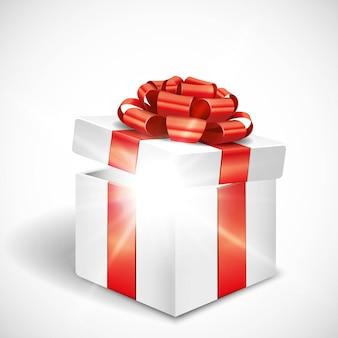 Вектор открытая подарочная коробка с блестящим светом