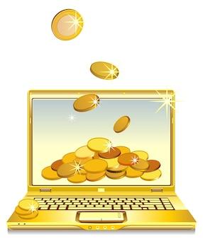 画面上の金貨とノートブックを開くベクトル