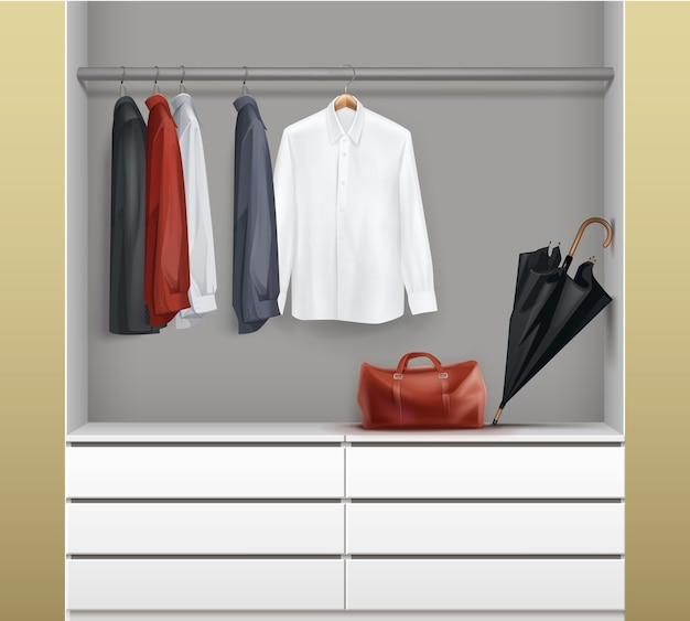 Vector open white wardrobe with drawers, red, black,blue shirts, umbrella and bag front view isolated on background