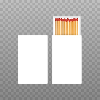 Vector opened blank box of red matches top view