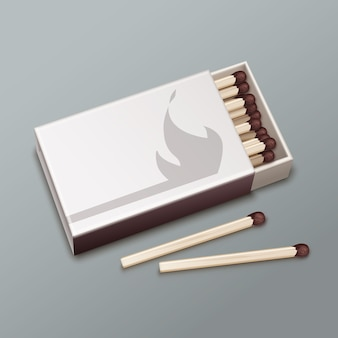 Vector opened box of brown matches isolated on gray background