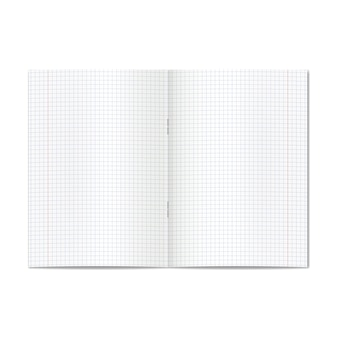 Vector opened realistic graph or quad ruled school copybook with red margins