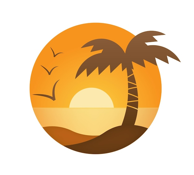 Vector orange sunset, palm, sea in the circle