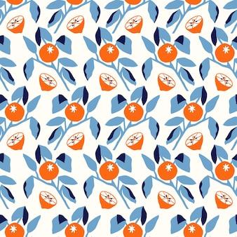 ベクトルオレンジの木の葉のイラストシームレスな繰り返しパターンキッチン家の装飾プリントファッションf
