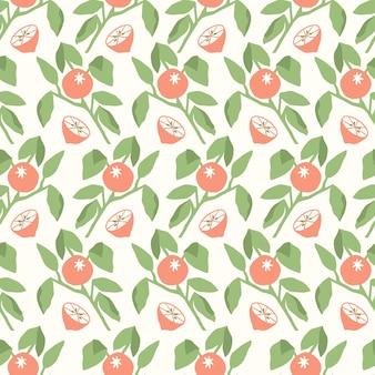 벡터 오렌지 나무 잎 그림 원활한 반복 패턴 주방 홈 장식 인쇄 패션