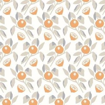 벡터 오렌지 나무 잎 그림 원활한 반복 패턴 주방 홈 장식 인쇄