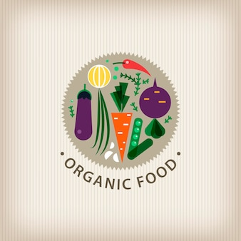 Vector organic food badge logo stamp, illustration. vegetables