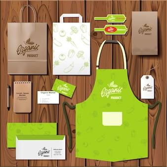 Векторный набор дизайна шаблона фирменного стиля органического рынка. макет брендинга.