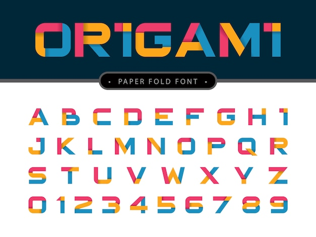 Vector of origami alphabet letters and numbers