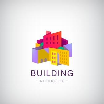 ベクトル折り紙の建物の構造、街並みの建設、カラフルな3dロゴ、アイコン。不動産、住宅、アパートのコンセプト