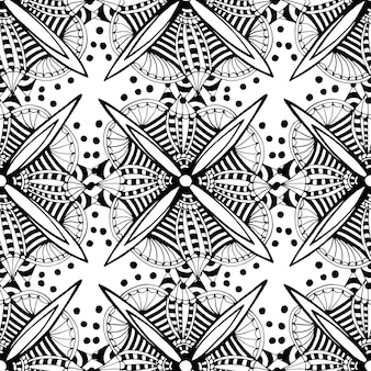 Vector ornamental background with doodle graphic flowers. black and white ethnic seamless pattern for fabric,  wrapping