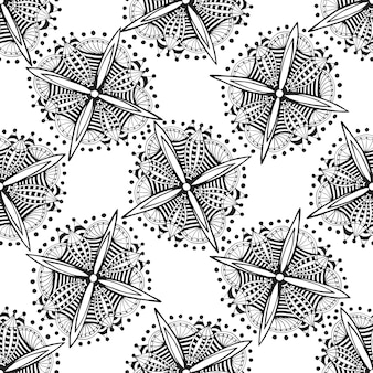 Vector ornamental background with zentangle flowers. black and white doodle ethnic seamless pattern for fabric, textile, wrapping.