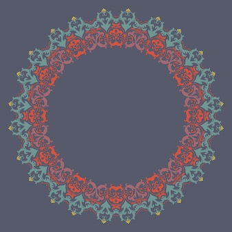 ダマスクとアラベスクの要素とベクトル装飾的なラウンドレース。 mehndiスタイル。伝統的な飾りのオリエンテーション。 zentangleのような丸い色の花の装飾。
