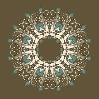 Векторные декоративные круглые кружева с дамасской и арабески элементов. mehndi стиль. восточный традиционный орнамент. zentangle-как круглый цветной цветочный орнамент.