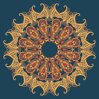 Vector ornamental round lace with damask and arabesque elements. mehndi style. orient traditional ornament. zentangle-like round colored floral ornament.