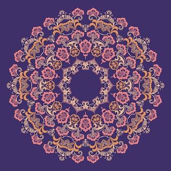 Pizzo decorativo in oro decorativo con damasco e elementi arabeschi. stile mehndi. orientare l'ornamento tradizionale. ornamento floreale colorato rotondo di zentangle.
