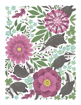 Vector ornate background with cute woodland animals funny forest scene with badgers