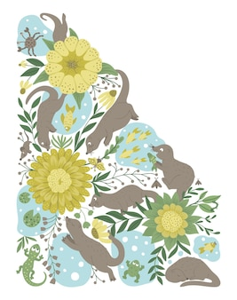 Vector ornate background with cute woodland animals funny forest scene with otters