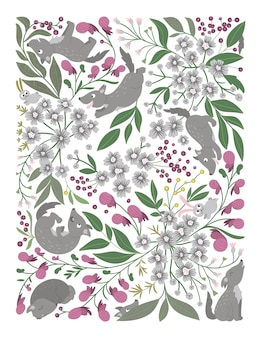 Vector ornate background with cute woodland animals funny forest scene with wolves hide seek game