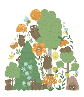 Vector ornate background with cute woodland animals leaves bears insects trees funny forest scene