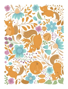 Vector ornate background with cute woodland animals leaves flowers insects funny forest scene
