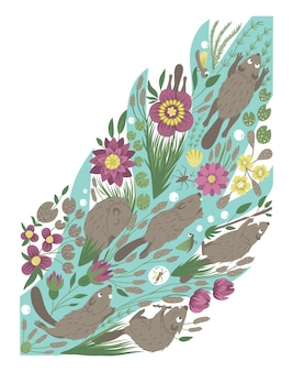 Vector ornate background with cute woodland animals leaves funny forest scene with beaver