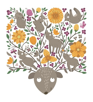 Vector ornate background with cute woodland animals leaves funny forest scene with deer