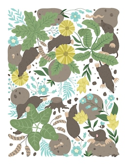 Vector ornate background with cute woodland animals leaves funny forest scene with moles