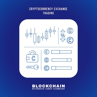 Vector outline design blockchain cryptocurrency exchange trading principle explain scheme illustration white rounded square icon isolated blue background