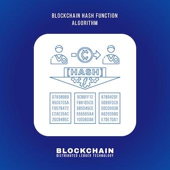 Vector outline design blockchain hash function algorithm principle explain scheme illustration white rounded square icon isolated blue background