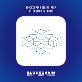 Vector outline design blockchain peer-to-peer distributed database principle explain scheme illustration white rounded square icon isolated blue background