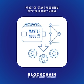 Vector outline design blockchain proof of stake algorithm cryptocurrency pos mining principle explain scheme illustration white rounded square icon isolated blue background