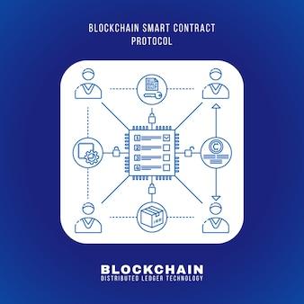 Векторный контур дизайна блокчейн смарт-контракт протокол принцип объяснения схемы иллюстрации белый округлый квадрат значок изолированный синий фон