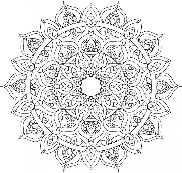 Vector outline ornate mandala illustration