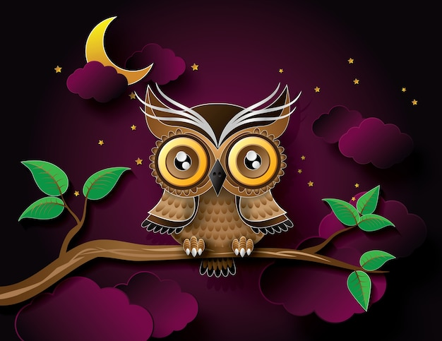 Vector of owl and moon.