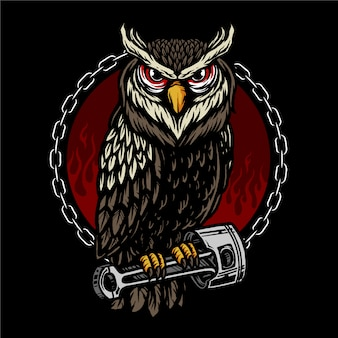 Vector of owl and piston