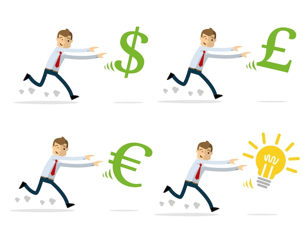 Vector pack of businessman chasing money and ideas