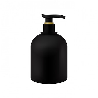 Vector packaging black beauty products cosmetics bottle template with dispenser on isolated white